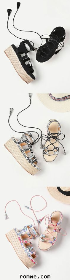 Lace Up Espadrille Flatform Sandals With Tassel
