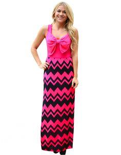 New Stylish Ladies Women Casual Sleeveless Print Wave Patchwork Long Dress