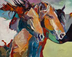 """Windswept"" by George Jones. Beautiful impressionist painting of horses by artist George Jones. #horseart"