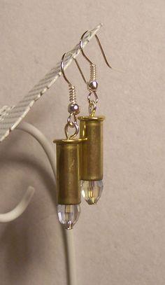 Items similar to Bullet Earrings - 'Diamond' Crystal on Etsy Diy Bullet Earrings, Bullet Shell Jewelry, Bullet Casing Jewelry, Bullet Casing Crafts, Bullet Crafts, Weird Jewelry, Diy Jewelry, Jewelry Making, Shotgun Shell Art