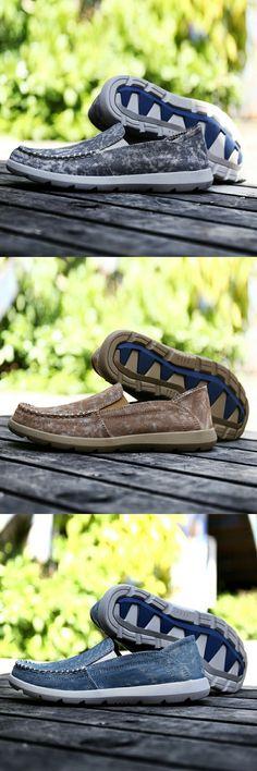 < Click to buy > Prelesty Autumn Big Size 39-46 Men's Casual Shoe Durable Denim Canvas Shoes Jeans Men Ultralight Comfort Men Loafers