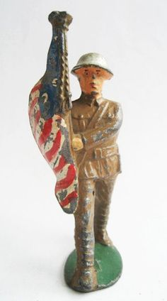 Vintage Manoil M3 7 Toy Lead Soldier Flagbearer por ToySoldierShop