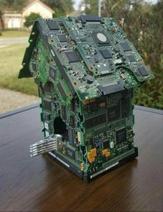Bird House Decorative Recycled/Upcycled by UpcycledCircuitBoard