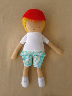 Fabric Doll Rag Doll Boy Doll with Cap. $35.00, via Etsy.