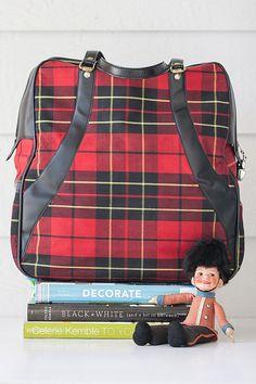 Vintage red plaid or tartan tote or bowling bag by SadRosetta, $32.00