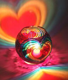 Vase candle holder Rainbow love. Painting on от RomanticArtGlass