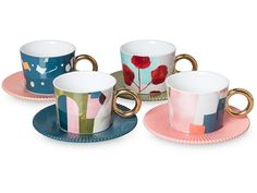 Astratto Set of Four Teacups & Saucers