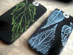 Leaf impressed beads/pendants. See her original process at http://littlegreenbums.blogspot.com/2011/07/creative-process.html    #Polymer #Clay #Tutorials