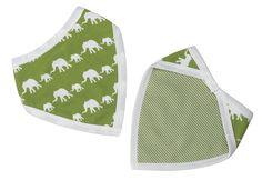 Pigeon Organics bandana bib - Green elephant