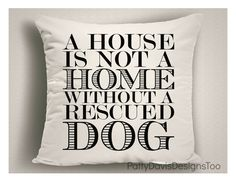 Rescue Dogs Pillow Gifts for Dog Lovers Dog Items by StickandPatti