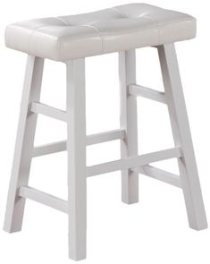 "Set of 2, Country Series Counter Stool - 24""H - in White Finish with Faux Leather Poundex http://www.amazon.com/dp/B00775MK0O/ref=cm_sw_r_pi_dp_0lmBub0RVK31A"