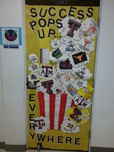 Classroom door decorated for College Month. First place!!