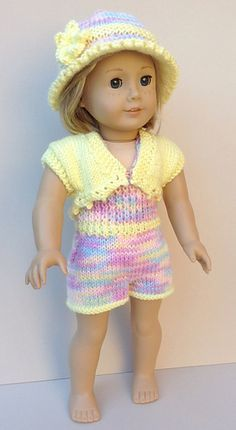 Crochet Outfit for American Girl Doll (pattern) Knitted Doll Patterns, Doll Dress Patterns, Knitted Dolls, Baby Knitting Patterns, Knitting Dolls Clothes, Ag Doll Clothes, Crochet Doll Clothes, American Girl Crochet, American Girls