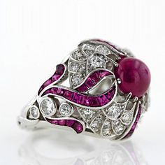 Large Art Deco Cabochon Ruby Ring - Lang Antiques