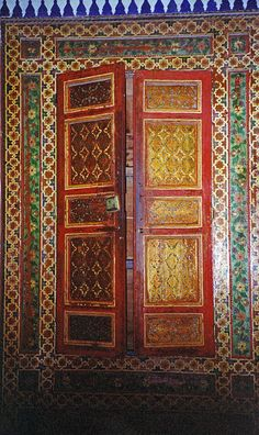 Casa de Pilatos Door    Antique door in the Casa de Pilatos in Seville, Spain. This building is considered to be one of the finest examples of the Mudejar style of Spanish architecture; the ornamentation is highly influenced by Moorish taste and workmanship. The building dates from the early 16th century.