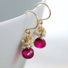 Raspberry Quartz Seed Pearl Earrings 14k Gold Fill by aubepine, $44.50
