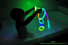 Glow sticks in the bath tub for a fun bath time experience