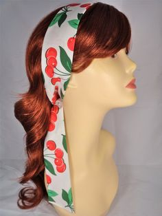 NEW hair tie fabric: white with red cherries! Two currently available, only $5 each!