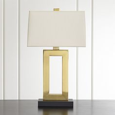 Duncan Brass Table Lamp with Ivory Shade   Crate and Barrel