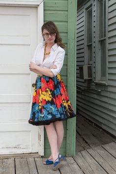 What I Wore: Over the Rainbow    Floral Skirt, @Popbasic necklace, white button up, vintage blue shoes