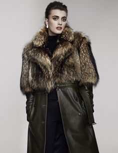 Georgine's embossed napa leather coat with Finn raccoon fur and Paige's rayon, cotton, polyester and spandex jeans. Fur Clothing, Napa Leather, Cute Summer Outfits, New Trends, Fur Coat, Fashion Tips, Fashion Trends, Pairs, Good Things