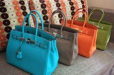 blue grey brown orange green birkin bags Frockage: Hermes Birkin bag
