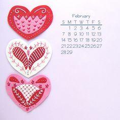 February 2016 desktop calendar from Shiny Happy World