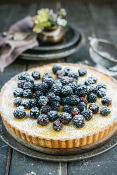 From The Kitchen: Blackberry Vanila Custard Cheesecakey Tart via Wendy Schultz ~ Pastries + Pies + Tarts Tart Recipes, Sweet Recipes, Dessert Recipes, Sweet Pie, Sweet Tarts, Just Desserts, Delicious Desserts, Yummy Food, Cupcakes