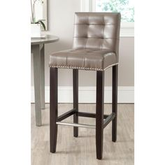 Elegant Bar Stools Leather and Wood