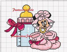Cross Stitch Baby, Cross Stitch Patterns, Baby Chart, Disney Quilt, C2c, Minne, Betty Boop, Minnie Mouse, Daisy