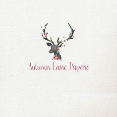 Pre-Made Watercolor Logo  Deer Logo  Antler by AutumnLanePaperie