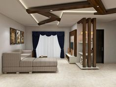 Simple Living Room Interiors Designed With A Twist Of Raftered False Ceiling
