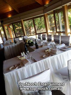 Wedding table place setting at Glen Erin, Lancefield, Victoria.  www.top-notch.com.au  www.facebook.com/WeddingDJTopNotch