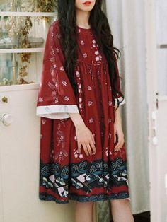 Long Sleeve Casual Polyester Printed Shirt Dress