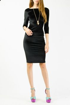 Classic velveteen midi dress- so chic