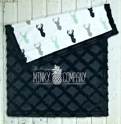 Deer Baby Blanket - Designer Minky Navy, Grey, and Mint - Navy by TheDesignerMinkyCo on Etsy (null)