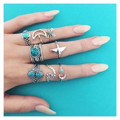 Turquoise & silver rings >> bohomoon.com  worldwide shipping on us! Use code 'freebie' at checkout