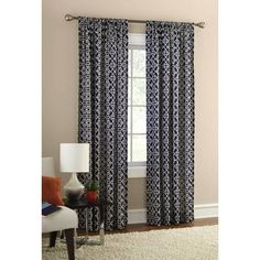 Mainstays Layered Trellis Room Darkening Curtain Panel - Walmart.com