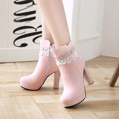 Women's Sweet Boots Lace Beads Platform Shoes Source by fashion boots Lace Ankle Boots, Lace Up Heels, High Heel Boots, Shoe Boots, Women's Boots, Cute Shoes Boots, Pink Boots, Shoes Heels, Pumps