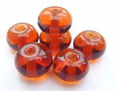 Lampwork Glass Spacer Beads Transparent by Amber for jewellery / jewelery making GlitteringprizeGlass