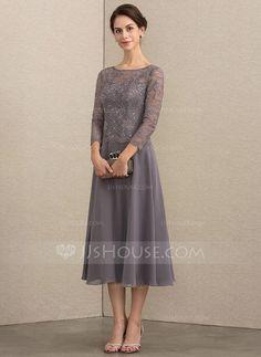 [AU$176.00] A-Line Scoop Neck Tea-Length Chiffon Lace Mother of the Bride Dress With Sequins
