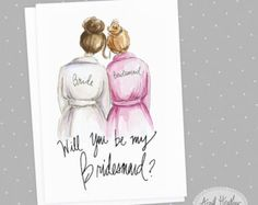 Maid of Honor Brunette Bride and Blonde Maid of by aprilheatherart