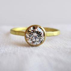Sarah Perlis: diamond set on a hammered band