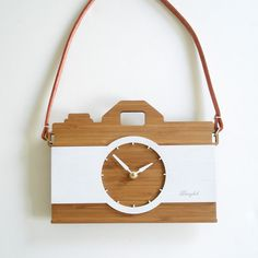 Unique wall clock  retro modern camera with leather by decoylab, $84.00