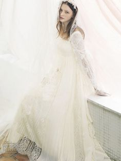 Jill Stuart romantic lace long sleeve wedding dress with veil