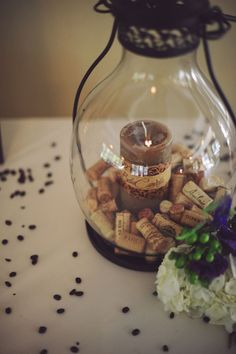 Lantern with wine corks rustic decor