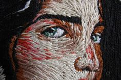 Illustrator and costume designer Ezgi Pamir uses embroidery thread like paint pigment in her stunning hoop art. Her portraits of women, in particular, are Portrait Embroidery, Embroidery Art, Cross Stitch Embroidery, Modern Embroidery, Thread Art, Thread Painting, Yarn Painting, Textiles Techniques, Embroidery Techniques