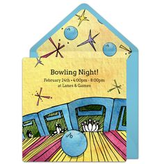 Customizable, free Retro Bowling Alley online invitations. Easy to personalize and send for a bowling party. #punchbowl