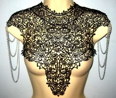 Steampunk lace black bib detachable collar necklace with silver chain epaulets epaulettes Body Tattoo Burning Man featured on VOGUE.IT