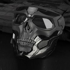 Not that I know too much about these pursuits, however I think these Airsoft / Paintball Tactical Skull Masks look super cool and I'd want one even just for a fancy dress party! Taktischer Helm, Arte Assassins Creed, Shooting Equipment, Tactical Helmet, Motorcycle Men, Skull Motorcycle Helmet, Skull Helmet, Bike Helmets, Armas Ninja